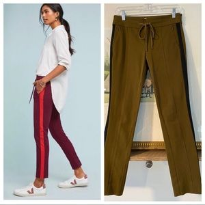 Anthro Stripe High Rise Essential Slim Trouser Tie